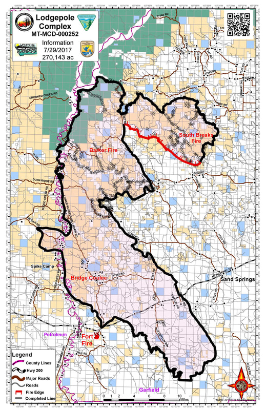Lodgepole Complex Fire Map DES Lodgepole Fire Archive   Garfield County, MT Government